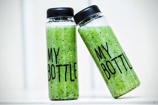 ボトル, スムージー, デトックス, ドリンク, 健康, 緑, 新鮮な