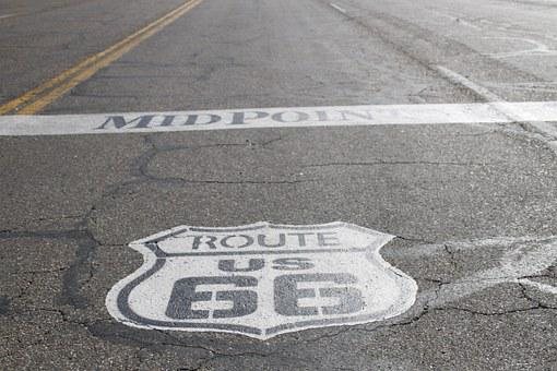 Route 66, Rte, 66, Street, Sign, Texas