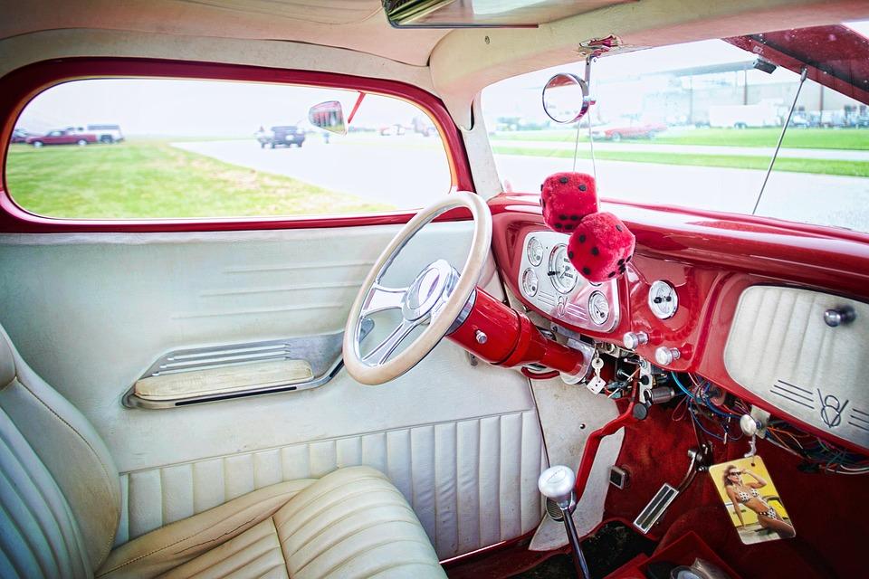 Vintage Car Red Interior Steering Free Photo On Pixabay