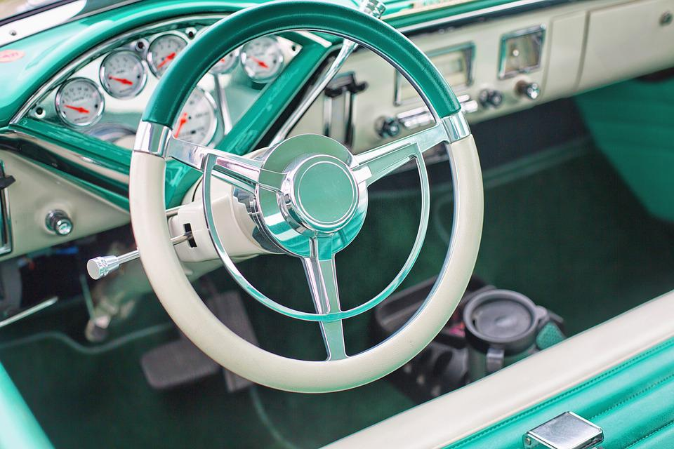 Vintage Car, Turquoise, Interior, Steering Wheel