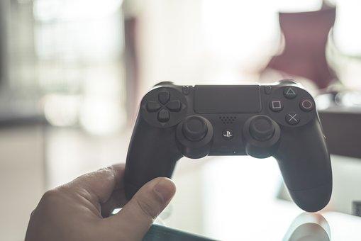 コントローラ, プレイ ステーション, 手, ゲーム, コンソール, ビデオ