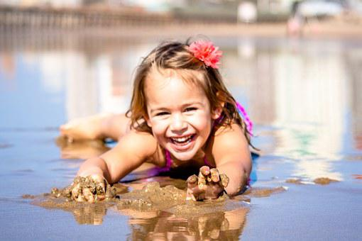 Girl Child Happiness Smile Beach Sunny Fun