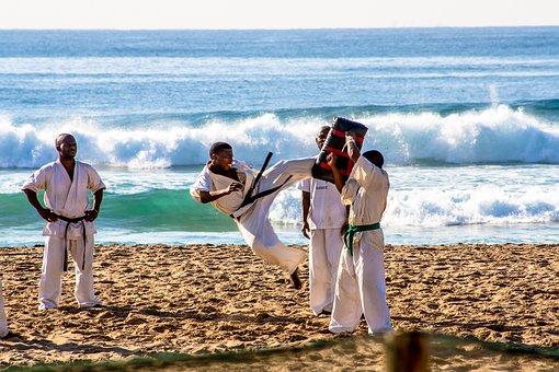 Karate, Sport, Beach, People, Ocean