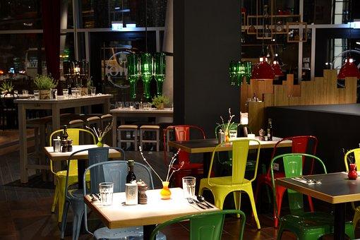 Restaurante, Interior, Diseño, Sillas