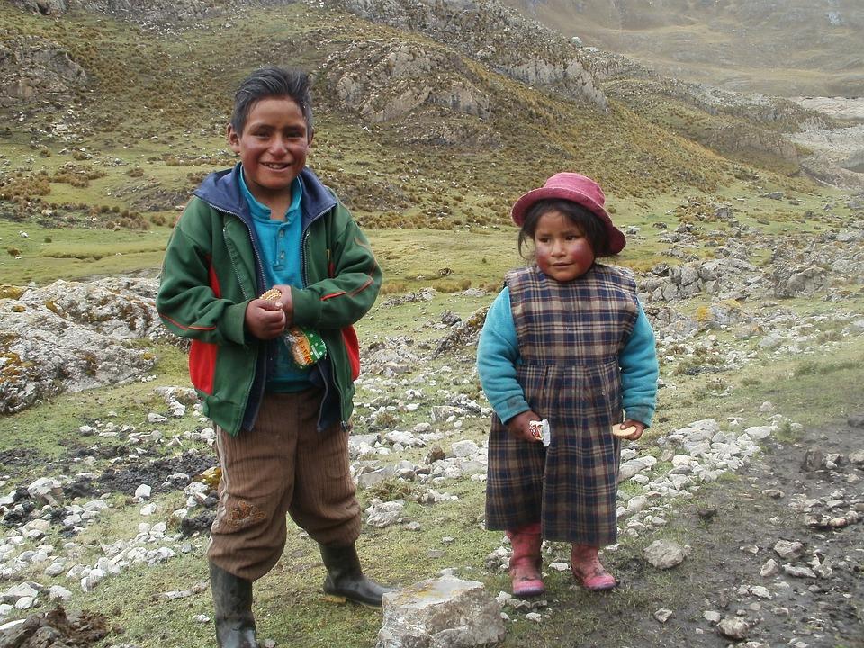 Bambini, Perù, Sud, America, Tradizionale, Viaggio