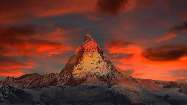 Mountains, Snow, Sunset, Dusk, Twilight