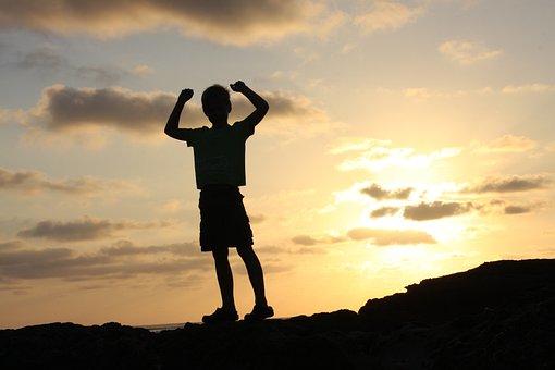 生活, 美しさ, シーン, 達成します, 達成, 勝利, 成功, 子ども, 子