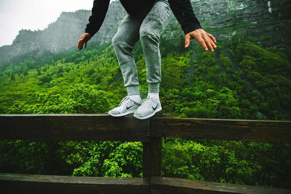 Salto, Perca, Cornisa, Equilibrio, Nike, Sólo Hazlo