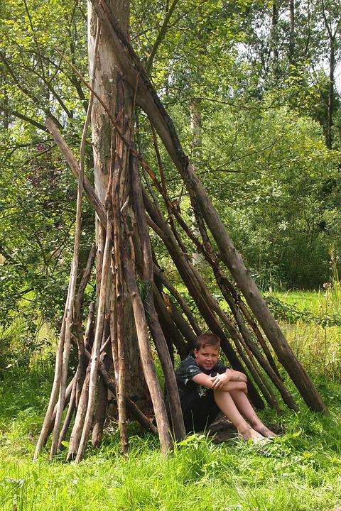 Boy, Hut, Tree Branches, Shelter, Grass, Play