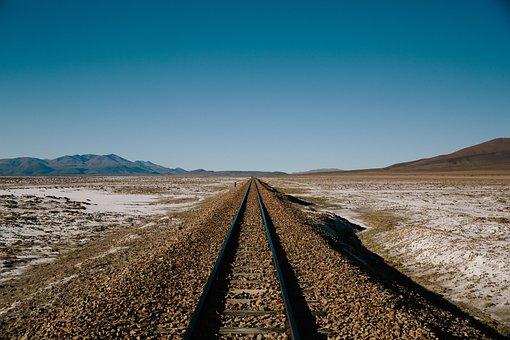 铁路, 曲目, 径, 沙漠, 请按照, 路径, 冒险, 蓝色的天空, 野生