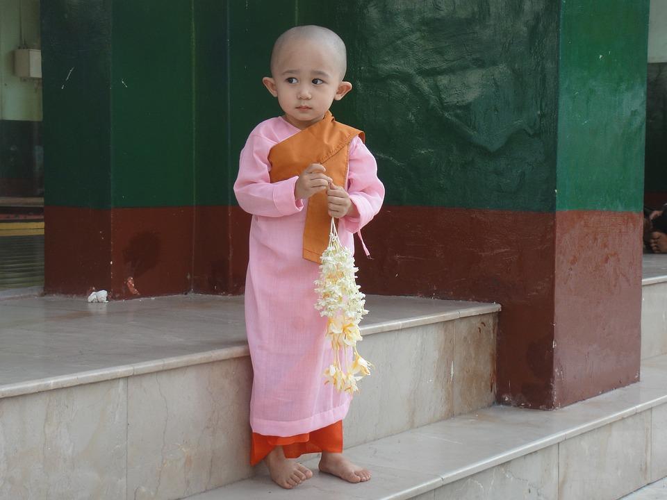 Kind, Myanmar, Birma, Monnik, Lief, Bedeesd, Meisje