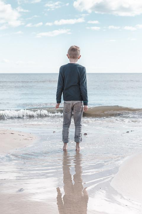 Kid, Beach, Think, Hipster, Child, Boy, Vacation