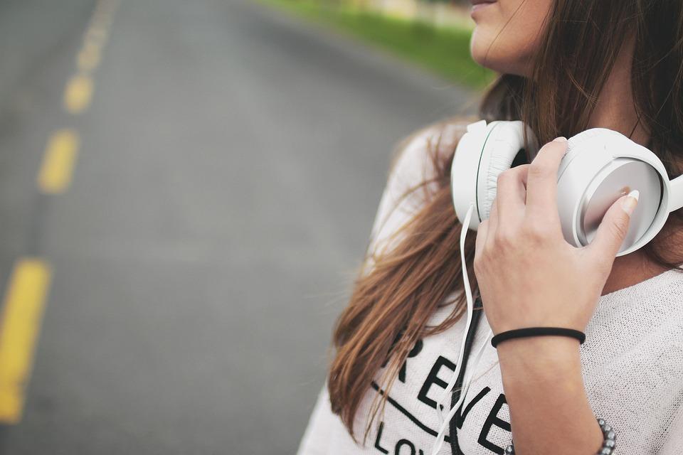 Ragazza, Musica, Cuffie, Hipster, Giovane, Felice