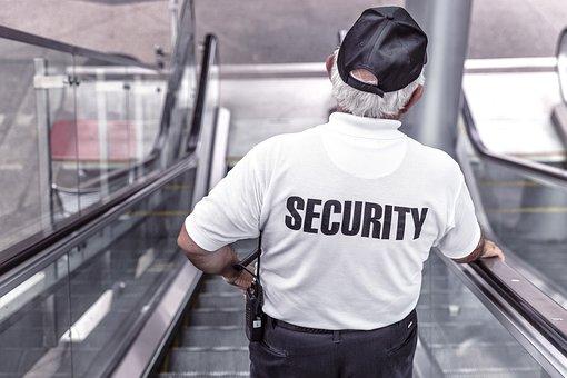 Security, Man, Escalator, Police, Guard