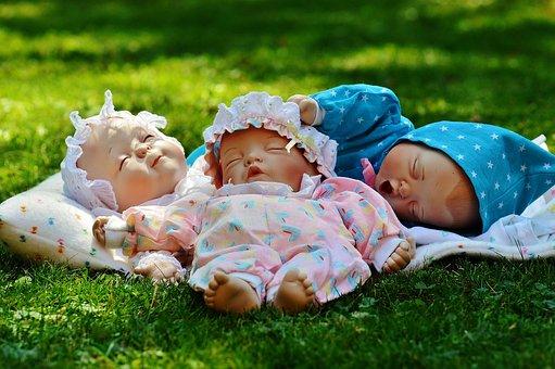 Bebês, Três, Sono, Olhos Fechados
