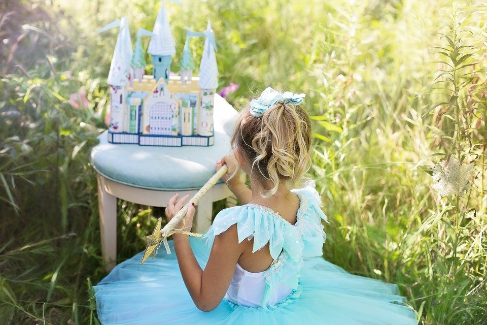 プリンセス, 美しい, 小さな女の子, 女の子, ドレス, 若いです, 妖精, ファンタジー, 子, 城