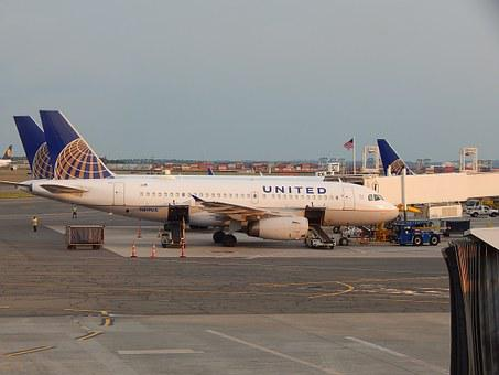 飛行機, 平面, 空港, ターミナル, ユナイテッド, ユナイテッド航空, 商業
