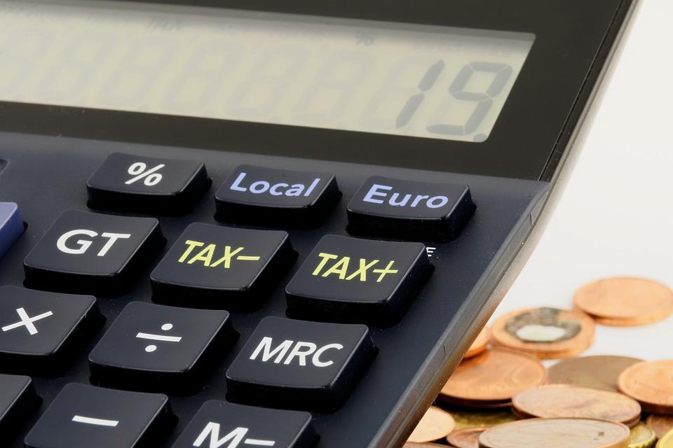 ユーロ, お金, 金融, 貯金箱, 保存し, セント, コイン, 電卓, 税金