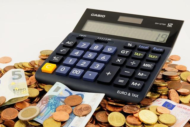 ユーロ, 見える, お金, 金融, 貯金箱, 保存し, セント, コイン, 電卓, 税金