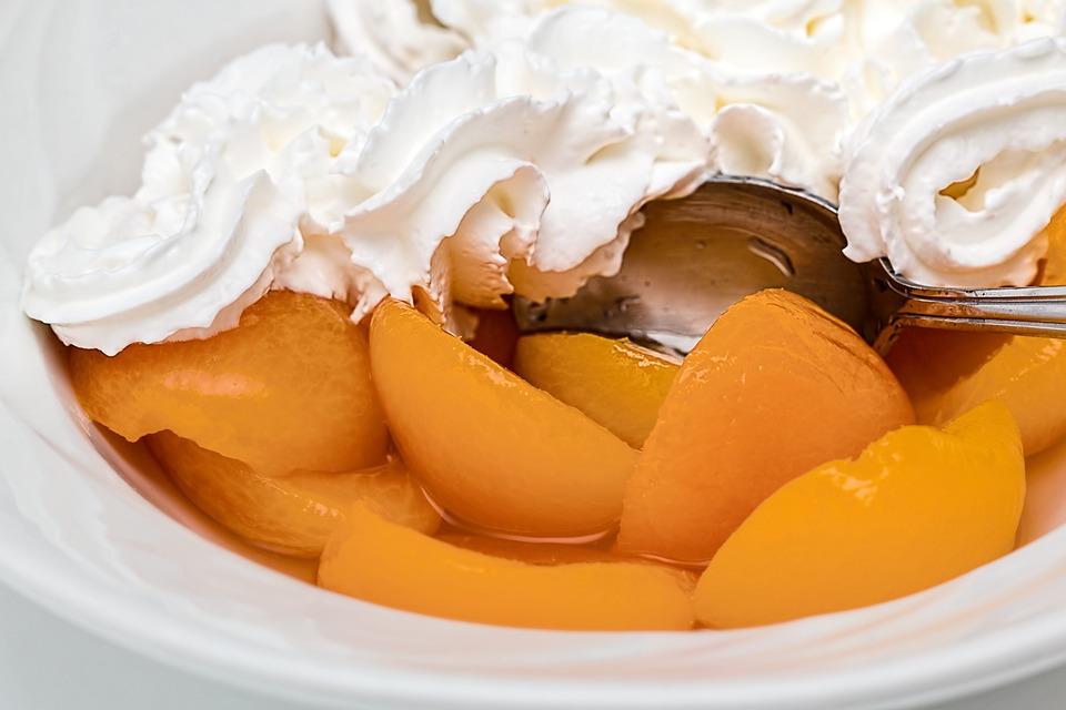 Apricot, Fruit, Whipped Cream, Dessert, Sweet