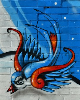 Bird Graffiti Hauswand Wall Painting