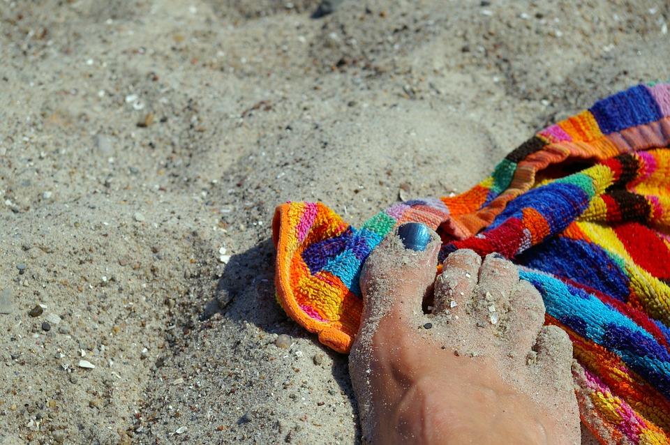 夏季, 太阳, 海滩, 海, 沙海滩, 假期, 浴巾, 游泳, 指甲油, 丰富多彩, 干, 五颜六色的海滩毛巾