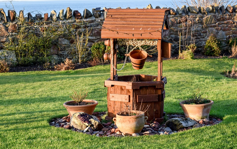 Garden Wishing Well Well Wishing Wooden Wish