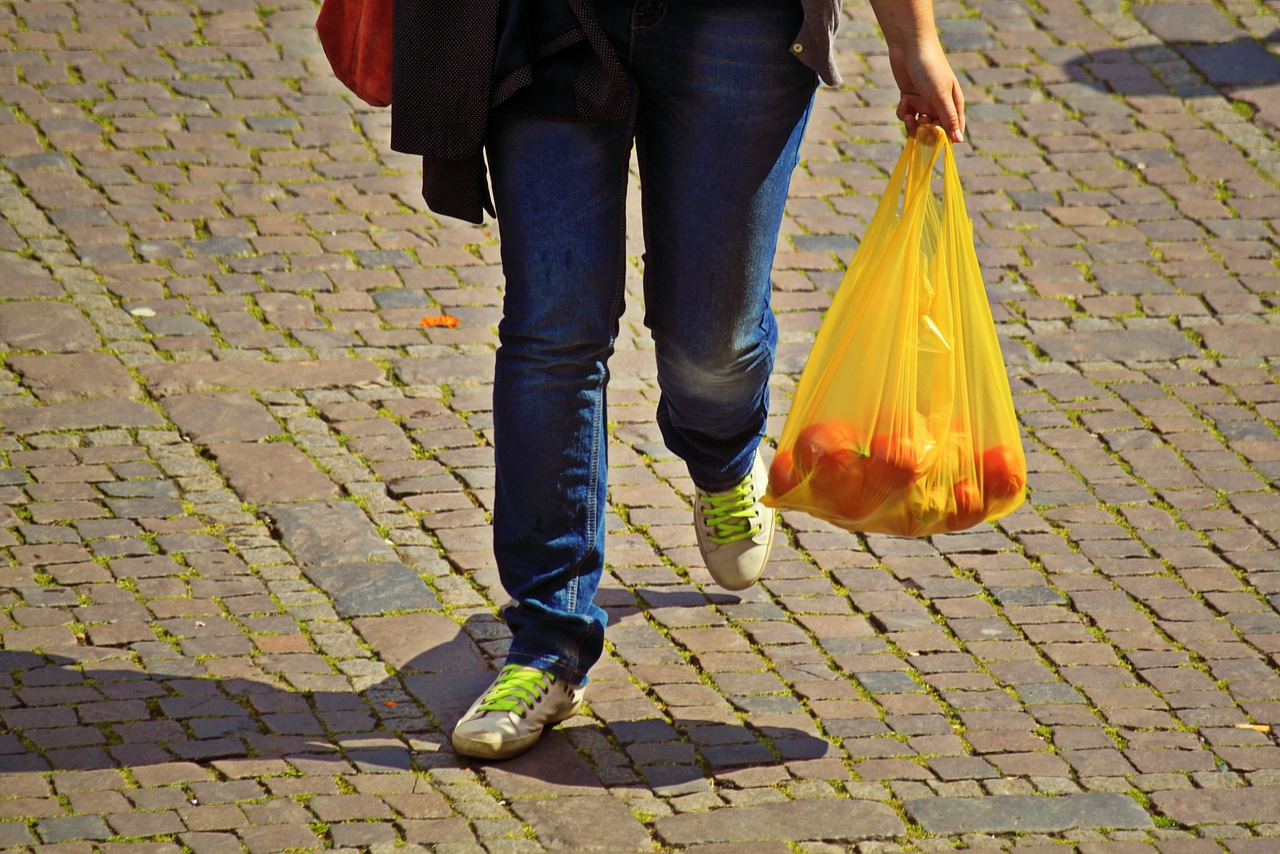 ショッピング, ケア, クマ, 市場ショッピング, 購入, バッグ, ビニール袋, Obstbeutel, 足