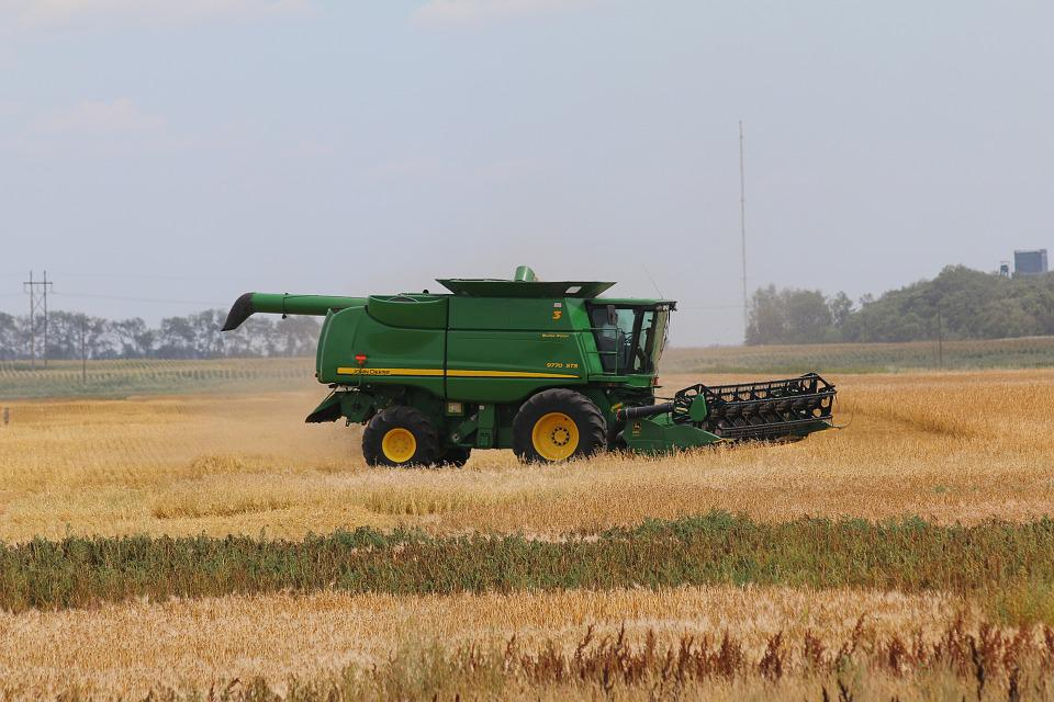 John Deere Combine Wheat Agriculture Farm Field