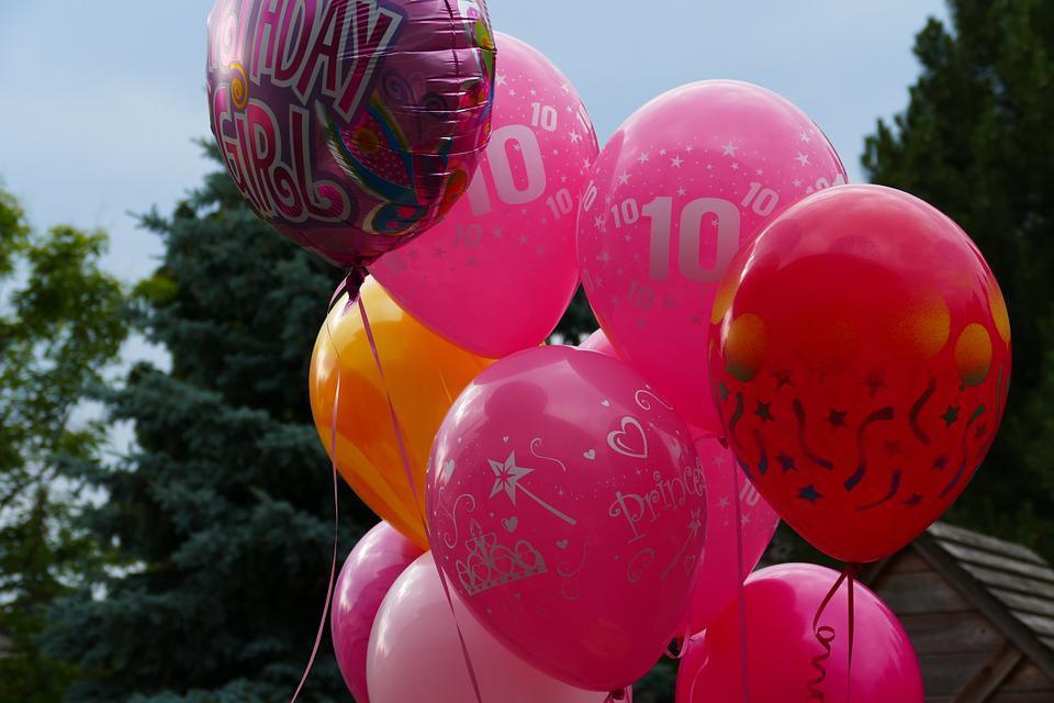 Balloons, Birthday, Pink, Red, Tenth, Balloon Bouquet