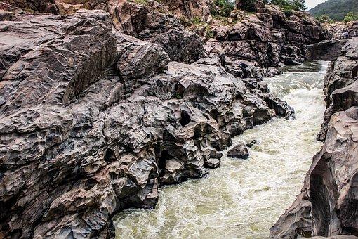 River, Gorge, India, Landscape, Nature