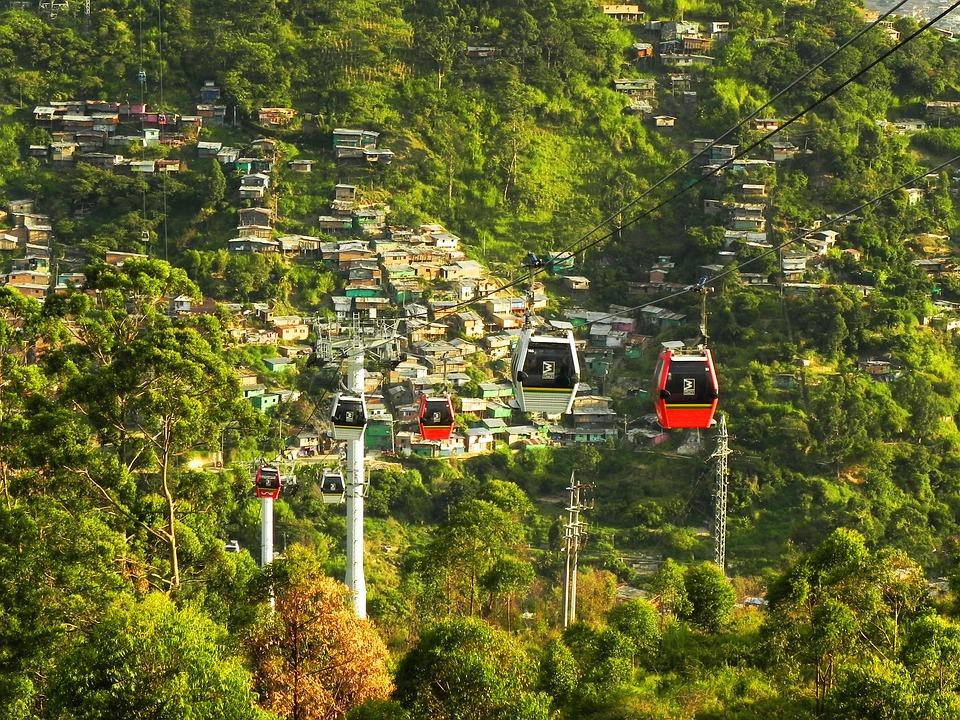 Cable, Car, Medellin, Colombia, Slum, Metrocable