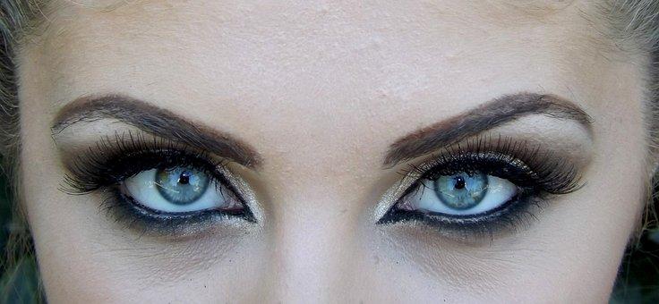 目, ブルー, 遺伝子, 魅惑的です, メイク