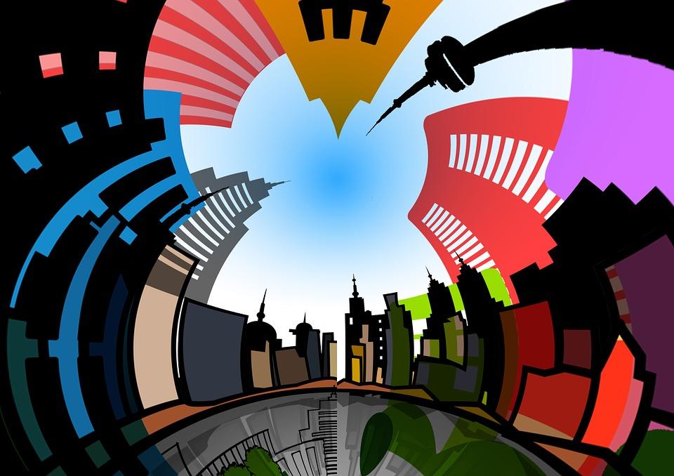 Architettura, Città, Casa, Finestra, Collage, Scena