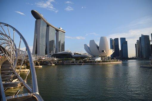 Singapore, Helix Bridge, Marina Bay