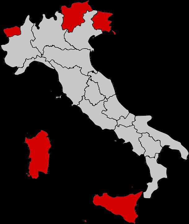 Karta Italien Regioner.Karta Autonom Regioner Gratis Vektorgrafik Pa Pixabay