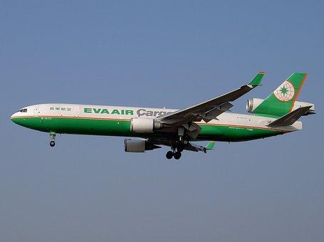 Md-11, エバー航空貨物, 航空機, 飛行機, 着陸, トランスポート