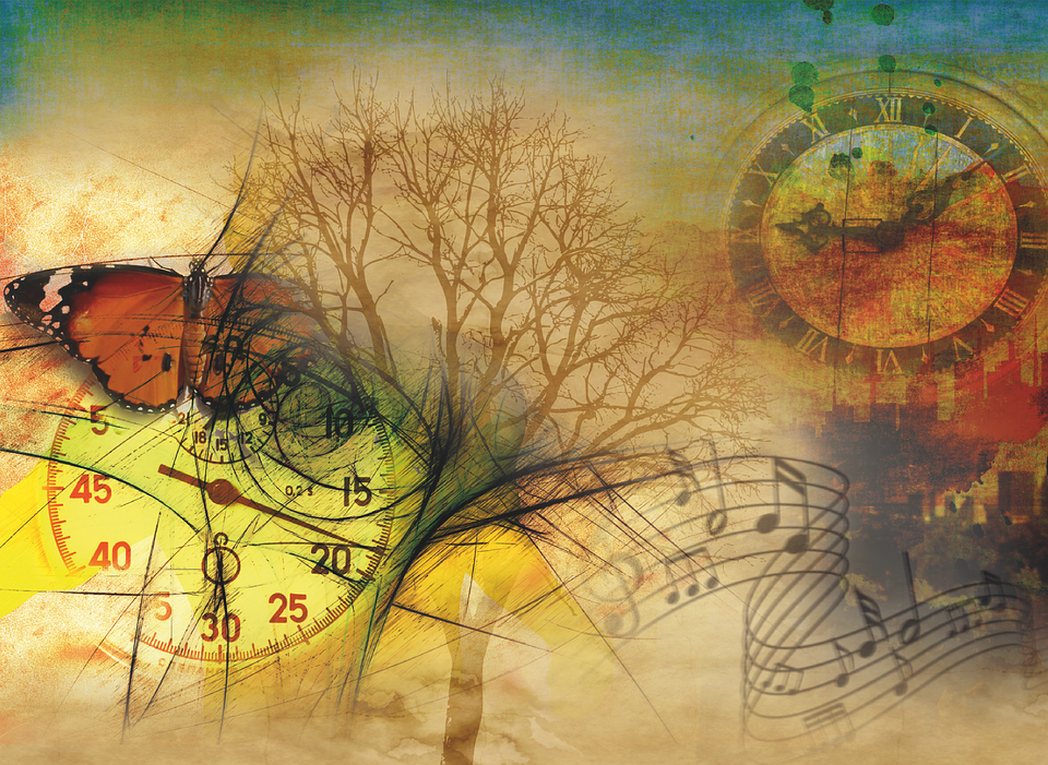 Clock, Butterfly, Music, City, Tree, Parchment