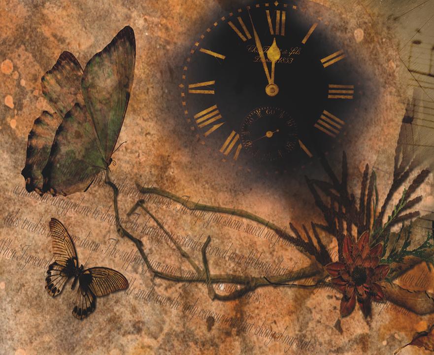 Vector gratis reloj mariposas flor terroso imagen gratis en pixabay 884609 - Mecanismo para reloj de pared ...