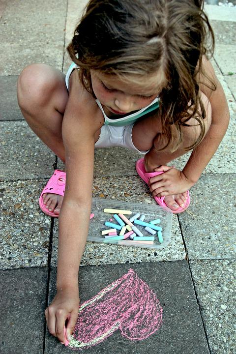 Painting, Crayons, Child, Girl, Art, Heart