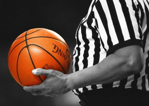 Basketball, Referee, Game, Orange, Ball