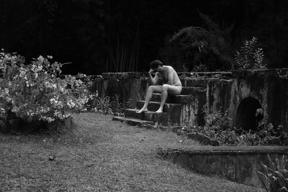 フランス, レユニオン島, 庭, 石の階段, ロダンの考える人, 裸の男, ボディ, 黒と白, 平和的です
