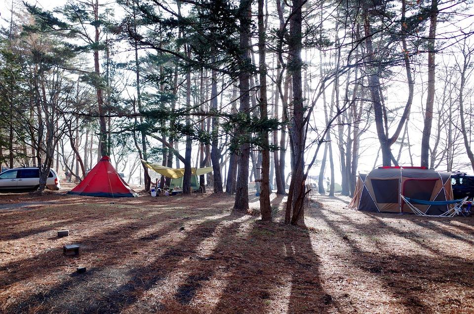 キャンプ, テント, アウトドア, ウッズ