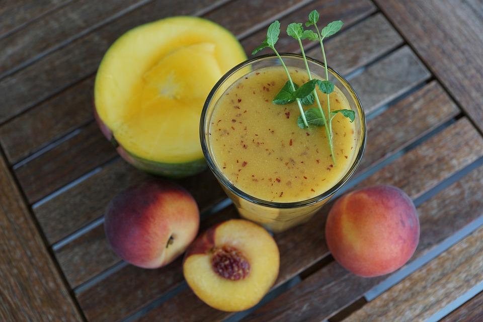 Smothie, Frutta, Drink, Vetro, Sano, Peach, Mango