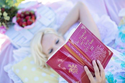 Woman Reading Love Poem Book Picnic B