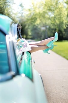 Woman'S Legs, High Heels, Vintage Car