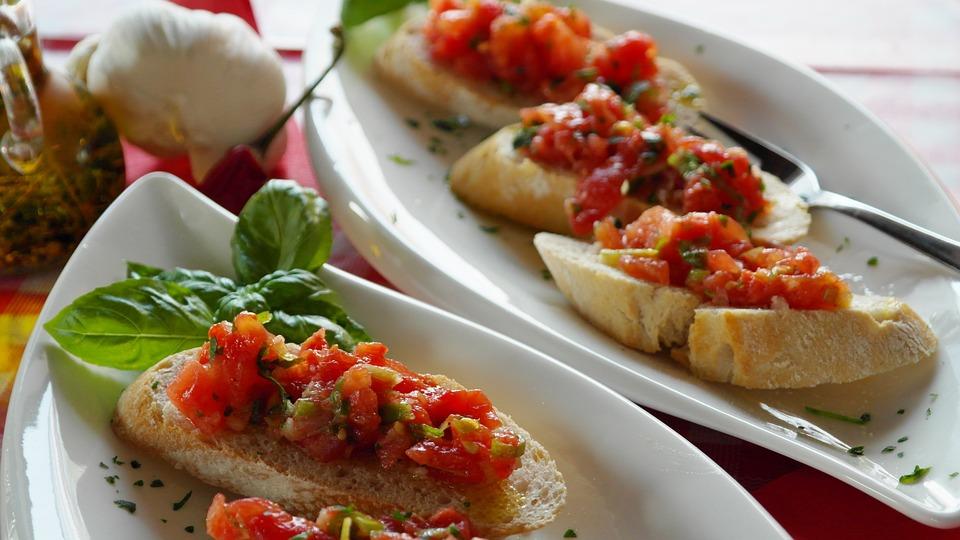 Bruschetta, Pan, Baguette, Los Tomates, Albahaca