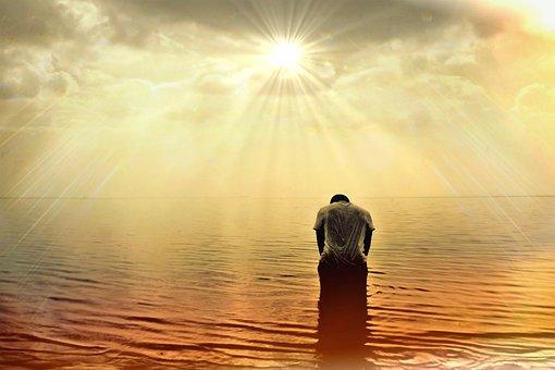 Man Human Person Sea Ocean Sun Sunlight Su