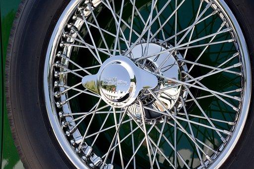 車, 自動車, ワイヤー ホイール, タイヤ, クロム, 光沢のある, 反射