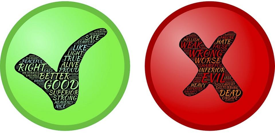 判断, 極性, 二元論, 受け入れる, 拒否します, 承認, 不承認, 反対, コントラスト, 違い, 区別